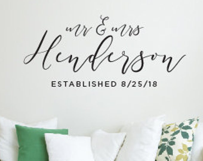 Mr & Mrs Name Wall Decal, Living Room Wall Decor, Established Date Decal, Modern Calligraphy Wall Decal, Wedding Gift Idea, Wall Art, Vinyl