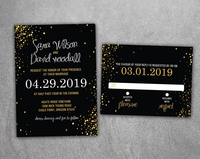 Black and Gold Wedding Invitation Set - Cheap Wedding Invitations, Sparkle Wedding Invitations, Night, Silver, Gold