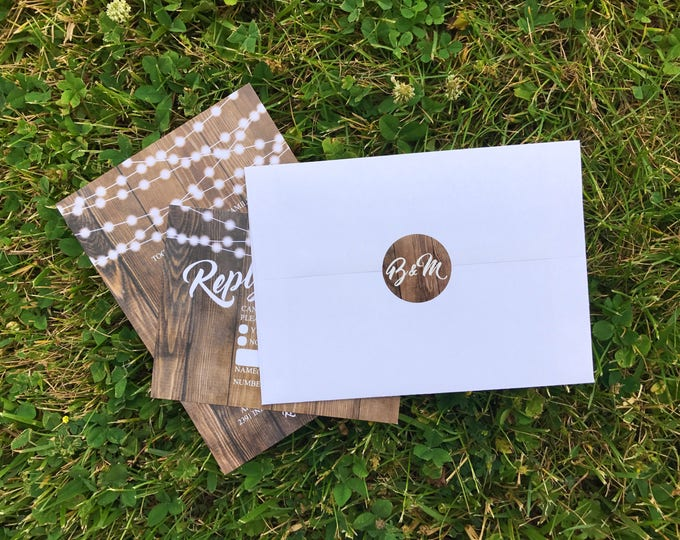 Envelope Seals, Stickers, Labels, Monogram, Matching, Wedding Invitations, Elegant, Rustic, Vintage, Shabby Chic, Boho, Wood, Gold, Barnwood