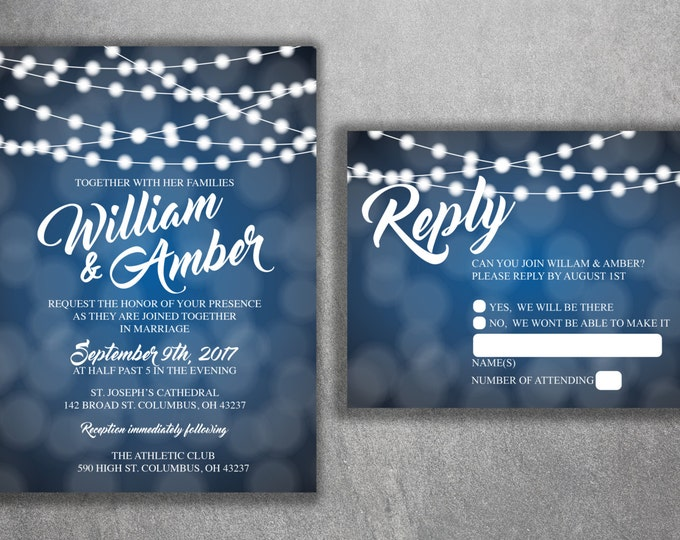 Wedding Invitation, Lights Wedding Invitation, Wedding Invite, Rustic Wedding Invitation, Blue and White, String Lights, Country Invite