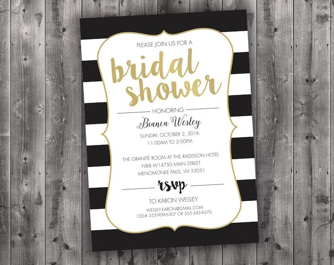 Black and White Bridal Shower Invitations, Bridal Shower Invitation, Bridal Shower Invite, Bridal Shower, Bridal Invitation, Wedding Shower