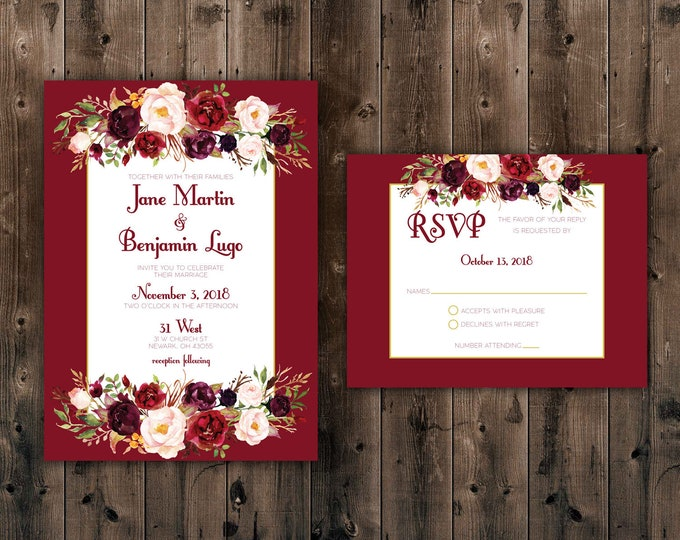 Marsala Flowers, Floral, Country Wedding Invitations Set Printed, Rustic Floral Wedding Invitation, Southern, Autumn, Burgundy