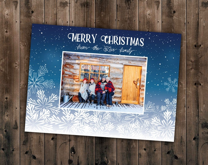 Snowflake Family Christmas Card, Photo Christmas Cards, Our First Christmas, Personalized Cards, Holiday Cards, Photo, Picture, Custom Cards