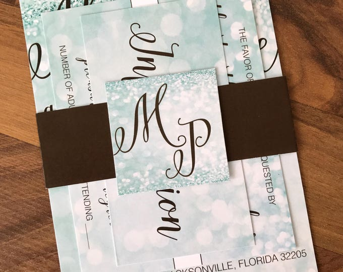 Matching Belly Bands and Monogram Cards for Invitation Sets