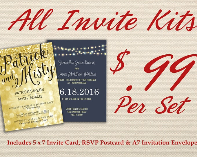 Wedding Invitation Set Printed with RSVP - Affordable, Cheap, Laser, Gold, RSVP, Elegant, Printable, Template, Floral, Art Deco, Modern