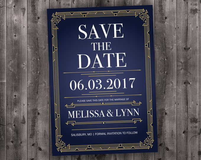 Art Deco Gold and Navy Blue Save the Date Cards Printed with Envelopes - Cheap, Affordable, Gatsby, Elegant, Elegant, RSVP, 50's