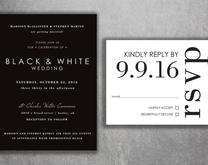 Affordable Wedding Invitations, Cheap Wedding Invitations, Wedding Invitation, Back and White, Simple Wedding Invitations, Modern, Classic