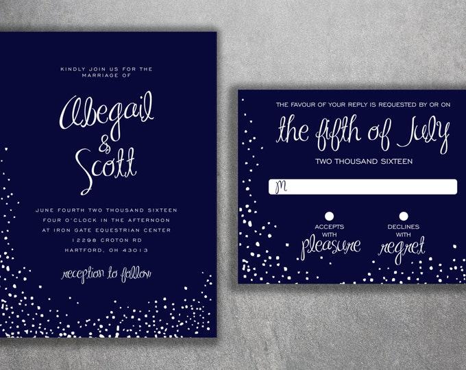Winter Wedding Invitation, Snow Wedding Invitation, Christmas Themed Invites, Navy and White, Snow Flakes, December, Snowflake Invitation
