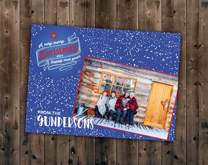 Picture Christmas Card, Family Christmas, Holiday Cards, Snowflakes, Personalized, Custom Cards