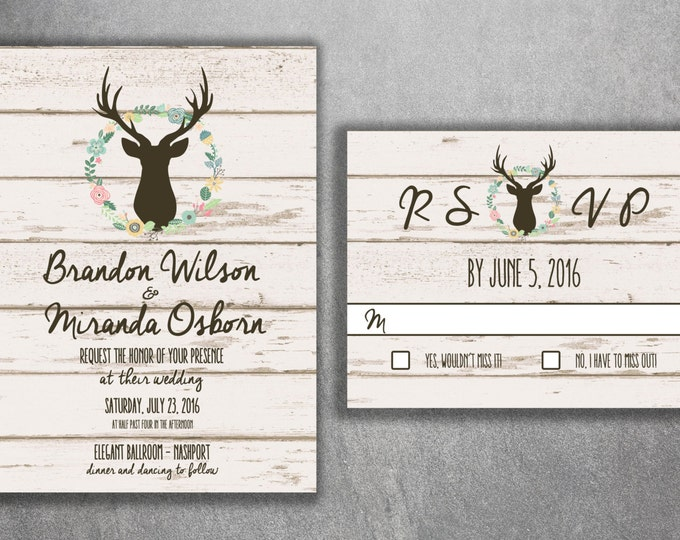 Country Wedding Invitations, Rustic Wedding Invitation, Wood, Deer Wedding Invitation, Buck, Deer Rack, Hunter, Boho, Flower Wreath, Print