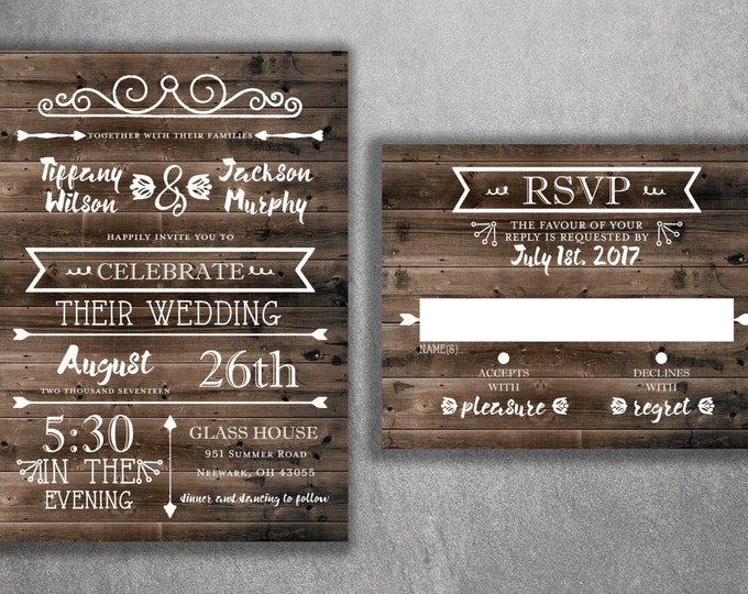 Country Wedding Invitations Set Printed, Rustic Wedding Invitation, Burlap, Kraft, Wood, Lights, Outside, Southern Wedding Invitations, Barn