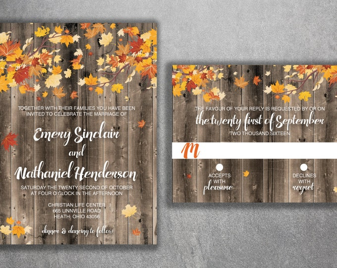 Autumn Wedding Invitation, Country Wedding Invitations, Fall Leaves Wedding Invitation, Affordable, Wood, Leaves, October, September, Rustic