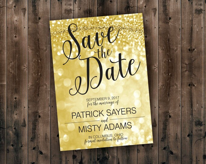 Save the Date Postcards, Gold & Black Save the Date, Cheap, Affordable, Sparkly, Elegant, Cards, Invites, Save the Date Template