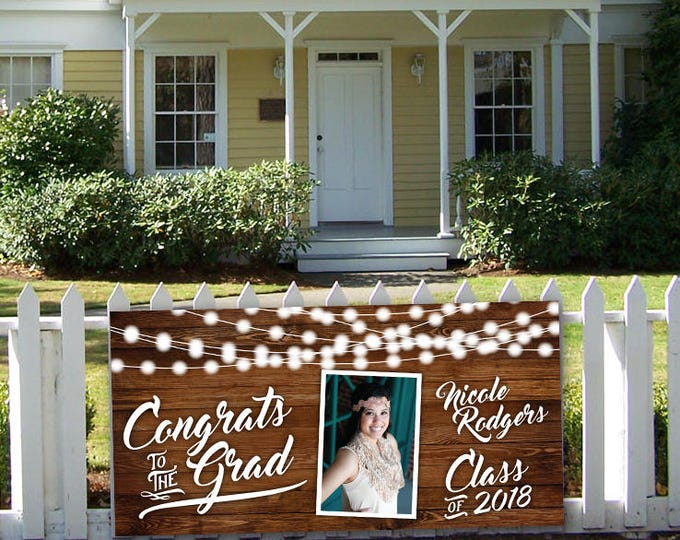 Vinyl Graduation Banner, Photo Graduation Banner, Printed, Affordable, Graduation Party, High School Senior Photo, Party Banner, Yard Sign