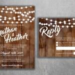 Rustic Wedding Invitations, Burlap, Kraft, Wood, Country Wedding Invitation, Affordable, Woodsy, Lights, Summer, Southern, Wedding Invite