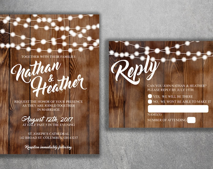Wedding Invitation, Wedding Invitations, Rustic Wedding Invitation, Wood, Lights,  Southern Wedding Invitations, Barn, Country Invitation