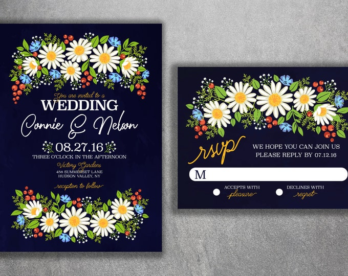 Daisy Wedding Invitation, Wild Flower Wedding Invitations, Wedding Invitation, Flowers, Floral, Spring, Boho, Affordable Wedding Invites