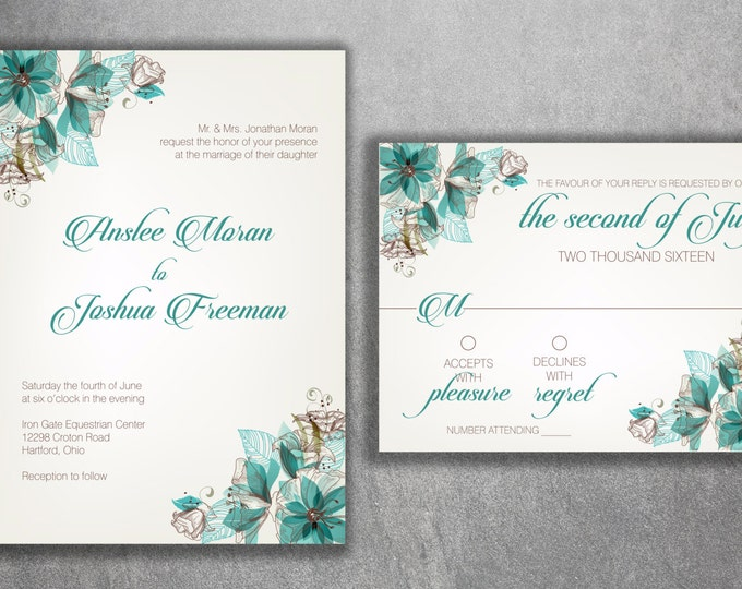 Floral Wedding Invitations, Wedding Invitation, Flowers Vintage Wedding Invitation, Modern Wedding Invitation, Elegant, Art Deco, Classic