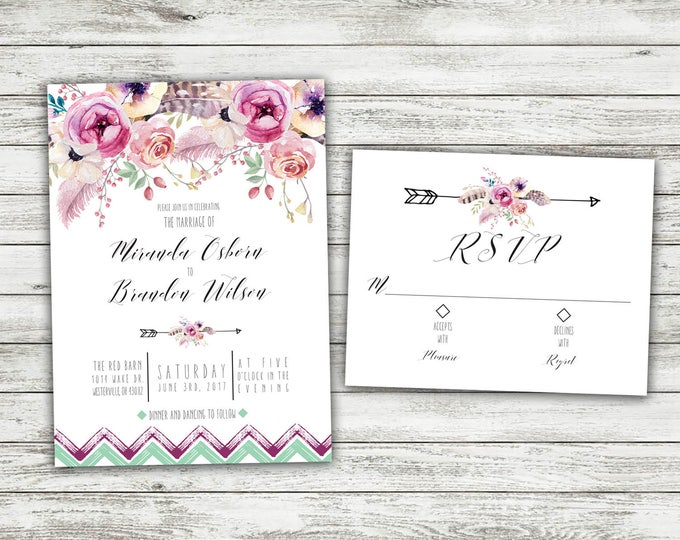 Boho Wedding Invitations, Bohemian Wedding Invitation, Boho Invite, Floral Wedding Invitation, Affordable Invite, Boho Chic, Watercolor