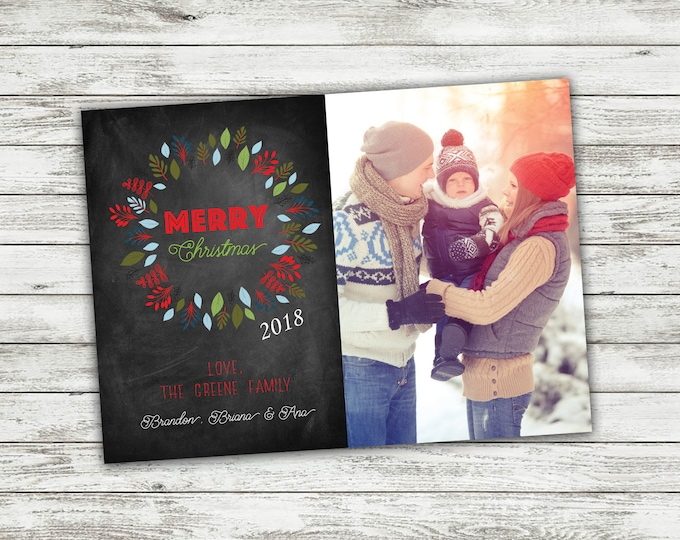 Chalkboard Family Christmas Card, Photo Christmas Cards, Greenery, Personalized Christmas Cards, Holiday Cards, Photo, Picture, Custom Cards