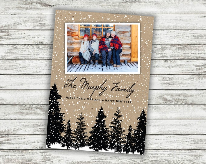 Rustic Christmas Card, Family Christmas Card, Photo Christmas Card, Personalized Christmas Cards, Holiday Card, Photo, Picture, Custom Cards