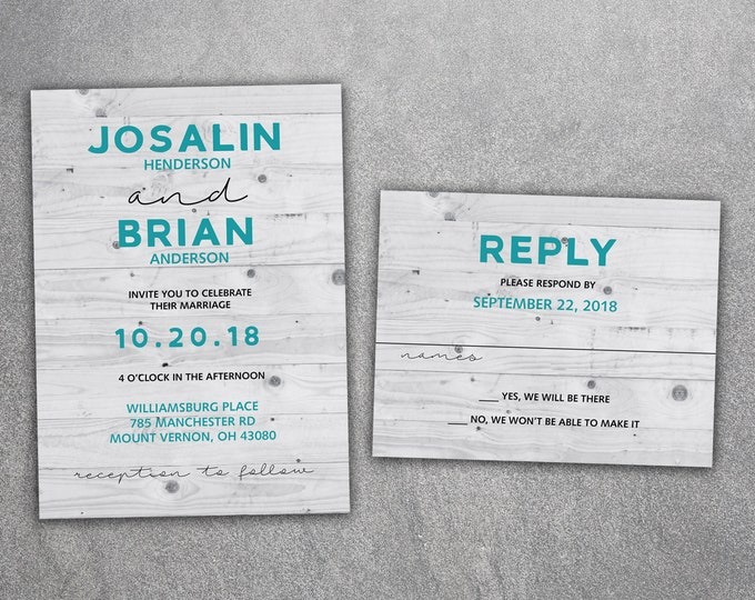 Gray Wood Wedding Invitations Set Printed, Wedding Invitation, Wood, Teal