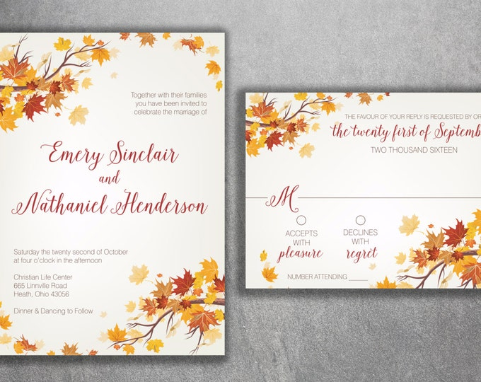 Affordable Autumn Wedding Invitation Set, Cheap Fall Wedding Invitation, September Wedding Invitations, Leaves, October, Maroon and Orange