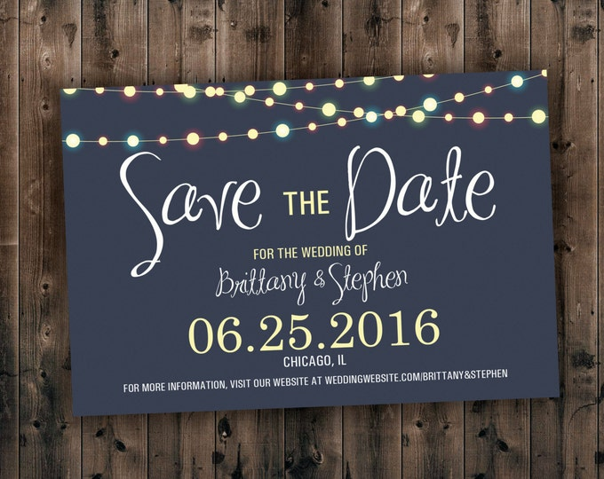 SAVE THE DATE cards, Save the Dates, Lights Save the Date Invite, Postcard, Wedding Announcement, Night, Blue, Save the Date Magnet