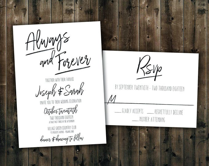 Simple Black and White Wedding Invitations Set Printed, Always and Forever, Wedding Invitation Suite, Elegant, Formal, Classy, Classic,
