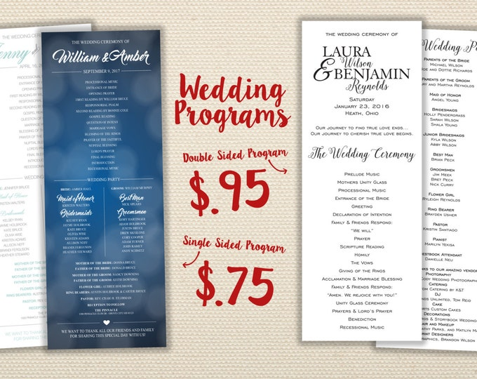 Affordable Wedding Programs - Ceremony Order, Cheap Wedding Programs, Unique, Custom, Simple, Classic, Ceremony Programs, Wedding Party