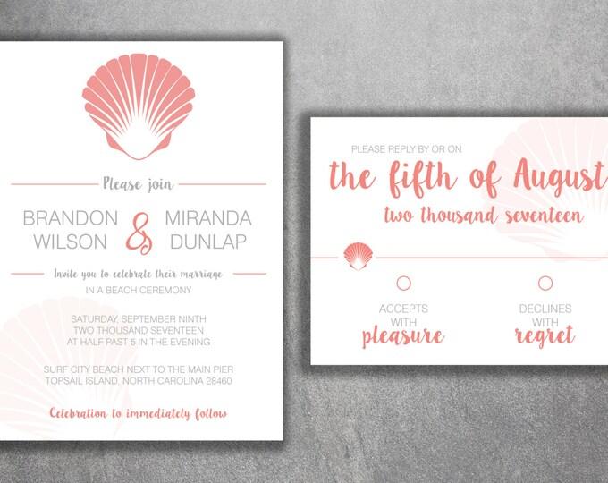 Sea Shell Wedding Invitations Set Printed - Coral Wedding Invitations, Affordable, Beach, Ocean, Star Fish, Shells, Cost, Palm Trees, Sand