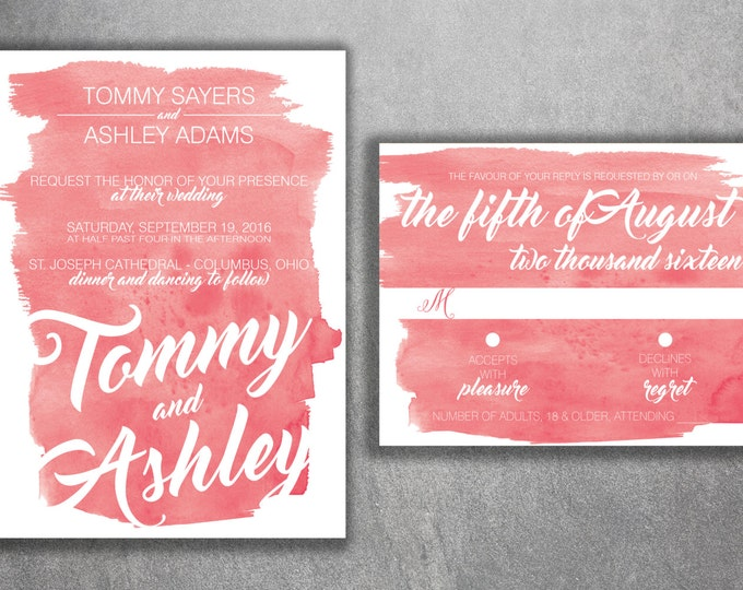 Coral Watercolor Wedding Invitations Set Printed - Cheap Wedding Invitations, Affordable Wedding Invitations, RSVP, Colors Custom, Elegant