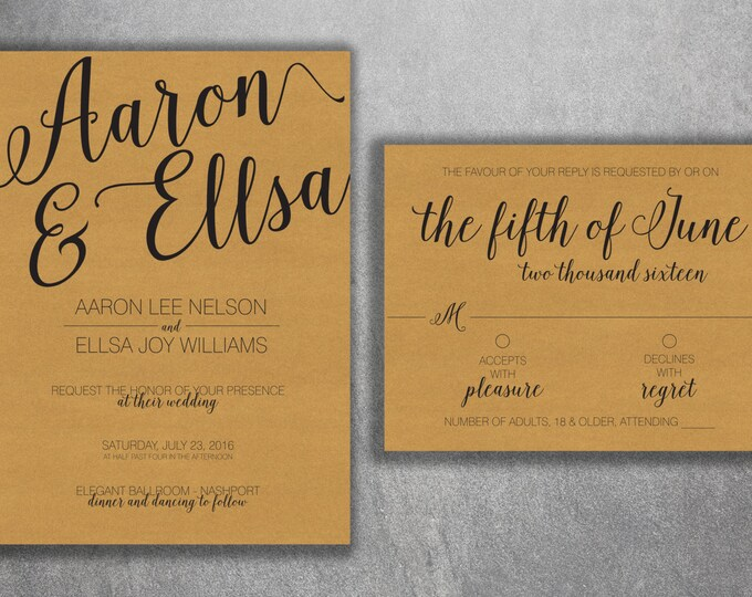 Country Wedding Invitations kit Printed with RSVP - Cheap Wedding Invitations set, Burlap, Kraft, Wood, Affordable, Woodsy,