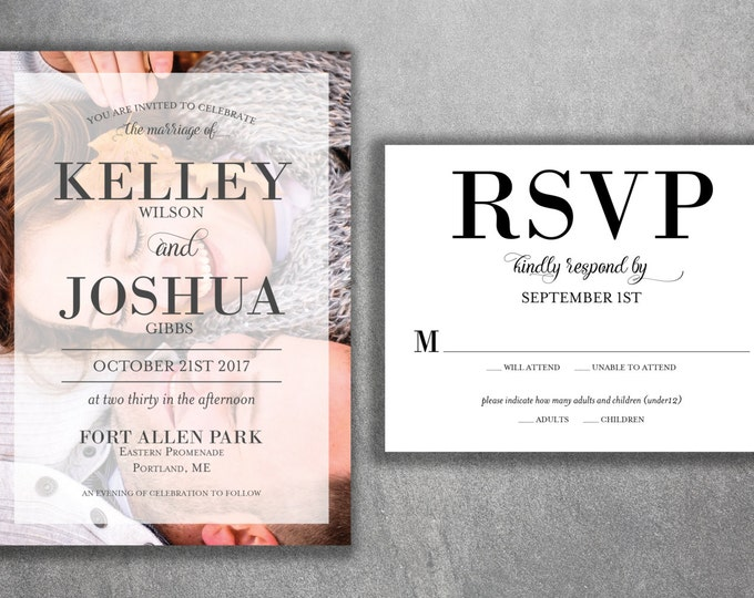 Wedding Invitation, Wedding Invitations, Photo, Modern, Photograph, Classic, Engagement Photo, Wedding Invite, Custom Wedding Invitation