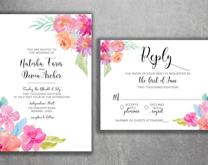 Watercolor Floral Wedding Invitations Set Printed, Classy Wedding Invitation, Southern Wedding Invitations, Floral, Watercolor Flowers