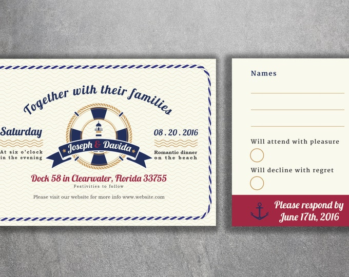 Light House Nautical Wedding Invitations Set Printed - Cheap Wedding Invitations, Navy Wedding Invitation, RSVP, Light House, Boat