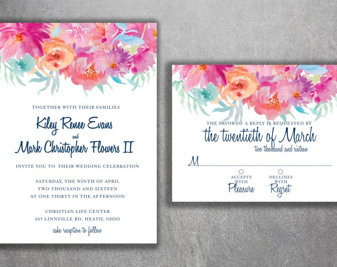 Floral Wedding Invitation, Flower Wedding Invitations, Vintage, Rustic, Country, Watercolor Wedding Invitation, Flowers, Wedding Invite