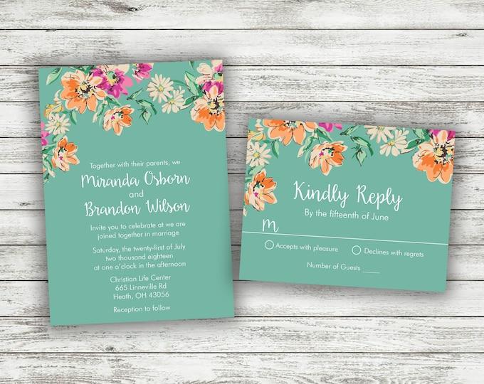 Watercolor Flowers Wedding Invitation, Wedding Invitations, Affordable Wedding Invitations, Rustic Wedding Invitation, Wedding Invites