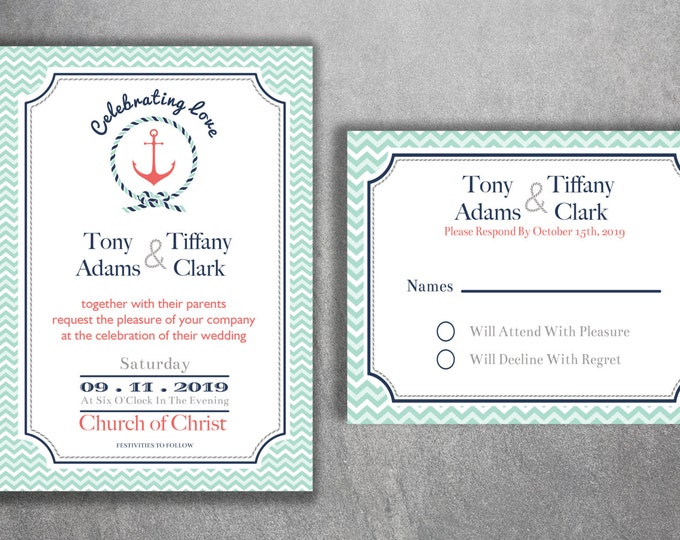 Nautical Wedding Invitations Set Printed - Cheap Wedding Invitations, Navy Wedding Invitation, Affordable, Beach, Cheap, Boat, Light House