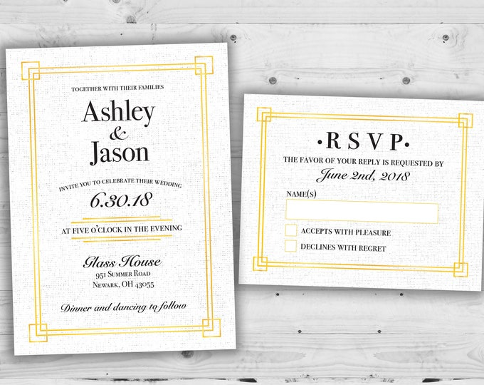 Elegant Art Deco Wedding Invitations Set Printed - Cheap Wedding Invitations, Affordable Wedding Invitations, Elegant, RSVP, 50's