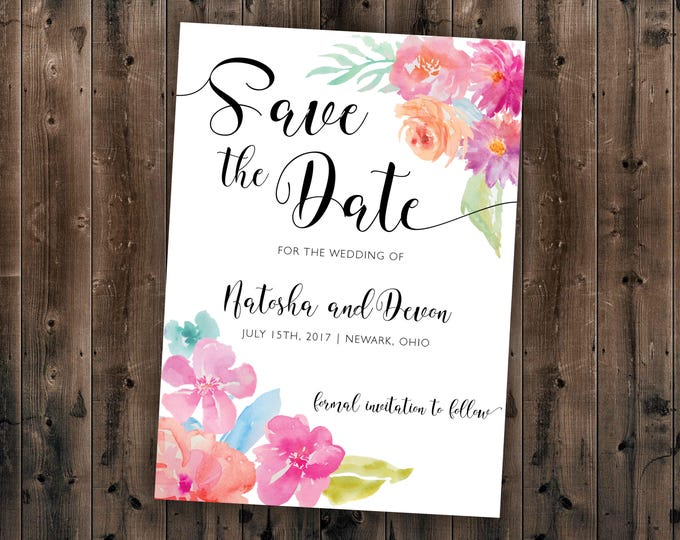 Floral Watercolor Save the Date Printed - Wedding Save the Date, Affordable, Vintage, Floral, Country, Watercolor, Flowers, Cheap, Summer