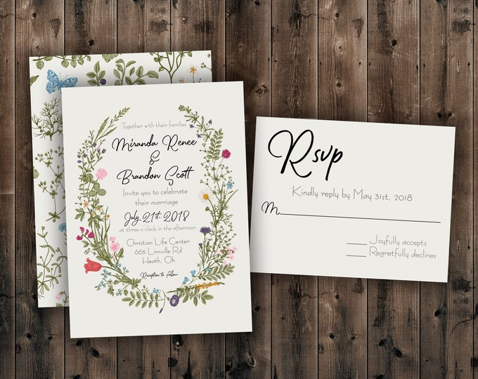 Wildflower Wedding Invitation, Country Wedding Invitations, Floral, Southern, Outdoor