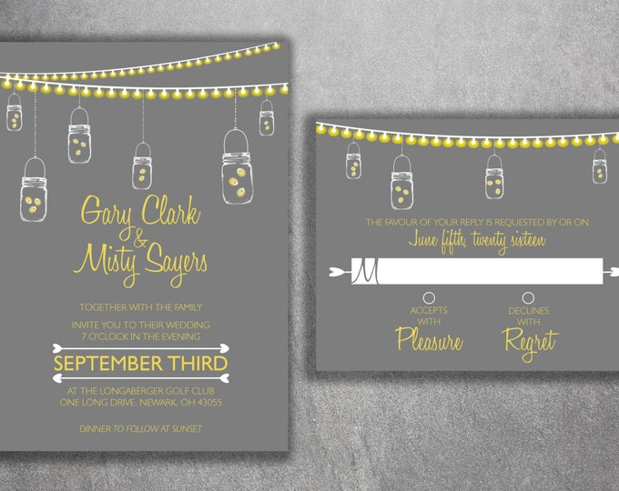 Mason Jar Wedding Invitations Set, Country Wedding Invitations, Rustic Wedding Invitation, Lights, Southern, Fireflies, Gray & Yellow, Night