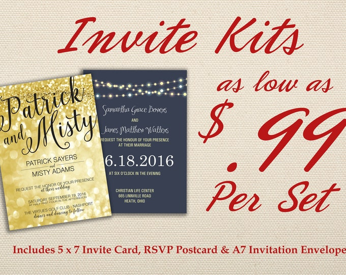 Wedding Invitation Kit Printed with RSVP - Affordable, Cheap, Laser, Gold, RSVP, Elegant, Printable, Template, Floral, Art Deco, Modern