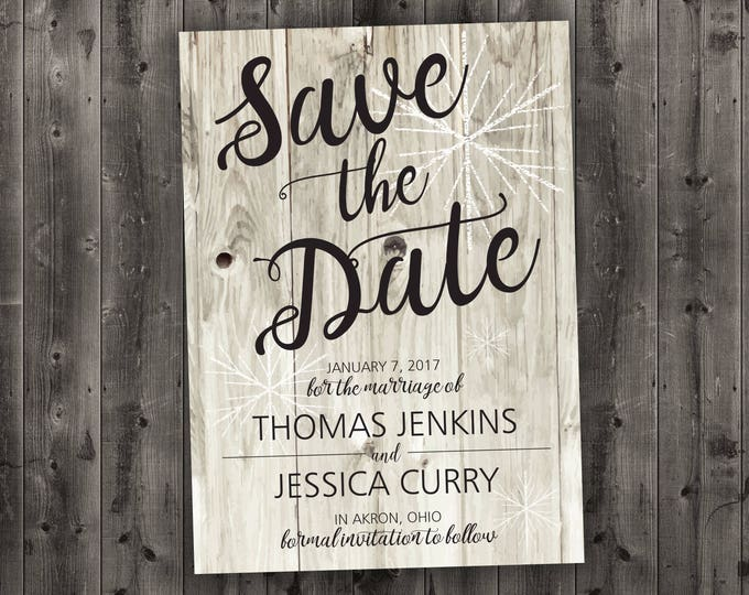 Barn Wood Winter Wedding Save the Date Printed - Snow, White Barn Wood, Rustic, Cheap, Woods, Affordable, December, January, Christmas