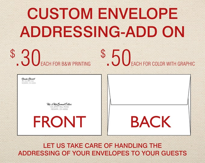 Custom A7 Envelope Addressing-Add On For Wedding Invitations