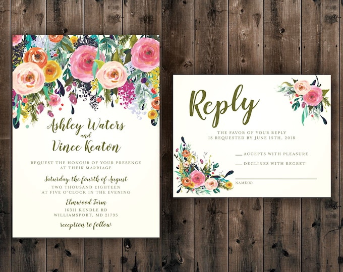 Floral Wedding Invitations Set Printed, Rustic Wedding Invitation, Outside, Southern, Flower Arrangement