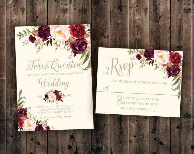 Floral, Marsala Flowers, Country Wedding Invitations Set Printed, Rustic Floral Wedding Invitation, Southern, Autumn