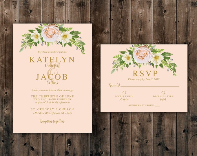 Pink Flowers, Wedding Invitations Set Printed, Elegant Floral Country Wedding Invitation, Southern, Summer