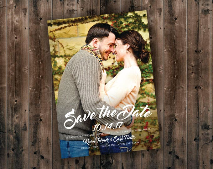 Engagement Save the Date Cards Printed, Postcard Save the Date, Cheap, Photo, Unique, Announcements, Affordable, Photograph, Wedding Invite
